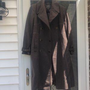 Tahari brown full length coat